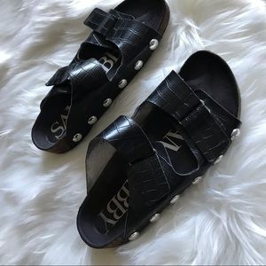 Sam & Libby slide sandals 7 black studded black
